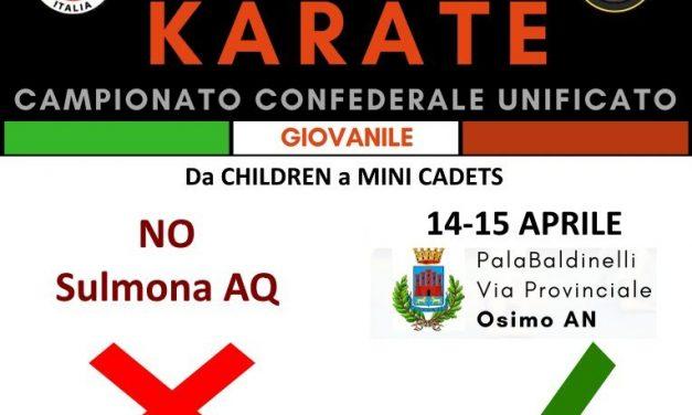 Campionato Italiano Unificato Giovanile 2018 spostato a OSIMO (AN)
